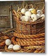 Basket Of Eggs On Straw Metal Print