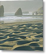 Beach With Dunes And Seastack Rocks Metal Print