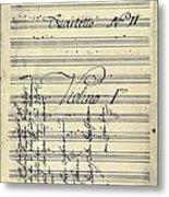 Beethoven Manuscript, 1799 Metal Print by Granger
