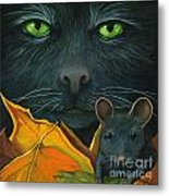 Black Cat And Mouse Metal Print