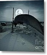 Boat And Moon Metal Print
