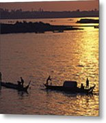 Boats Silhouetted On The Mekong River Metal Print
