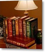 Books Sit On A Desk In A Home Library Metal Print by O. Louis Mazzatenta