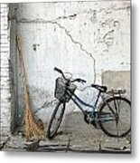 Broom And Bike Metal Print