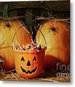 Bucket Filled With Halloween Candy Metal Print