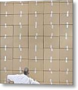 Businessman Seated Facing Cardboard Boxes Wall Metal Print