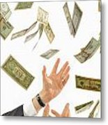 Businessman's Hands Trying To Catch Us Dollars Metal Print