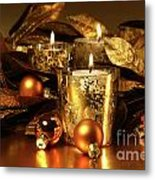 Candles Light In Sparkling Gold  Metal Print