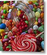 Candy Jar Spilling Candy Metal Print