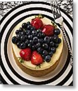 Cheese Cake On Black And White Plate Metal Print by Garry Gay