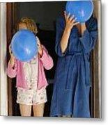 Children Blowing Up Balloons Metal Print