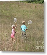 Children Collecting Insects Metal Print