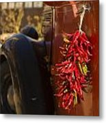 Chile Hang From The Door Of An Old Metal Print