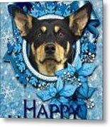 Christmas - Blue Snowflakes Australian Kelpie Metal Print by Renae Laughner
