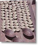 Clay Yogurt Cups Drying In The Sun Metal Print