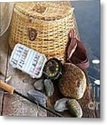 Close-up Of Fishing Equipment And Hat  Metal Print