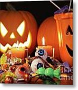 Closeup Of Candies With Pumpkins  Metal Print