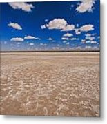 Clouds Float In A Blue Sky Above A Dry Metal Print