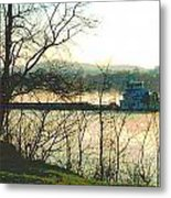 Coal Barge In Ohio River Mist Metal Print by Padre Art