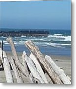 Coastal Driftwood Art Prints Blue Sky Ocean Waves Metal Print by Baslee Troutman