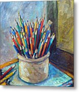 Colored Pencils In Butter Crock Metal Print by Jean Groberg