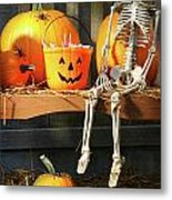 Colorful Pumpkins And Skeleton On Bench Metal Print