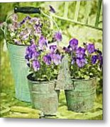 Colorful Spring Flowers On Garden Chair Metal Print