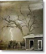 Country Horses Lightning Storm Ne Boulder Co 66v Bw Art Metal Print