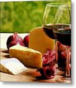 Countryside Wine  Cheese And Fruit Metal Print by Elaine Plesser