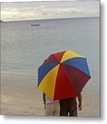 Couple Holding Umbrella On Beach Metal Print