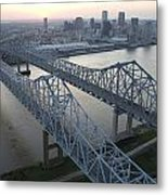 Crescent City Connection Bridge Metal Print by Tyrone Turner