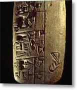 Cuneiform Writing Describes Commodities Metal Print by Lynn Abercrombie