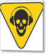 Dj Skull On Hazard Triangle Metal Print by Pixel Chimp
