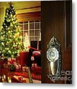 Door Opening Into A Christmas Living Room Metal Print