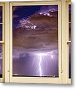 Double Lightning Strike Picture Window Metal Print