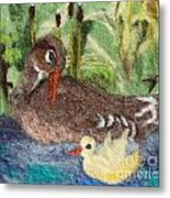 Duck And Duckling Metal Print