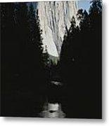 El Capitan Soars Above The Merced River Metal Print by Marc Moritsch