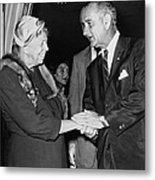Eleanor Roosevelt Shaking Hands Metal Print