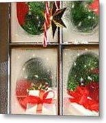 Festive Holiday Window Metal Print by Sandra Cunningham