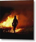 Firefighters Start A Controlled Fire Metal Print