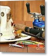 Fishing Reel With Hat And Color Lures Metal Print by Sandra Cunningham