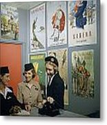 Flight Attendants Stand And Talk Metal Print by B. Anthony Stewart