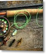 Fly Fishing Rod With Polaroids Pictures On Wood Metal Print
