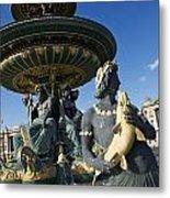 Fountain At Place De La Concorde. Paris. France Metal Print by Bernard Jaubert