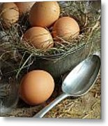 Fresh Brown Eggs In Old Tin Container With Spoon  Metal Print by Sandra Cunningham