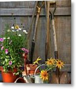 Garden Shed With Tools And Pots  Metal Print