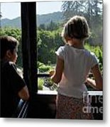 Girl And Boy Looking Out Of Train Window Metal Print