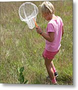 Girl Collecting Insects In A Meadow Metal Print