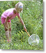 Girl Collects Insects In A Meadow Metal Print by Ted Kinsman