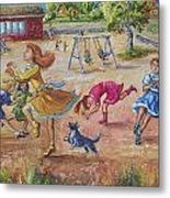 Girls Playing Horse Metal Print
